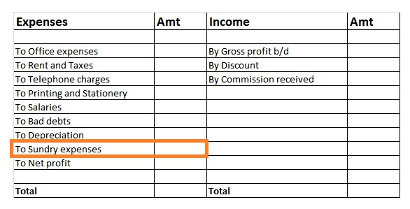 Sundry Expenses in Income Statement