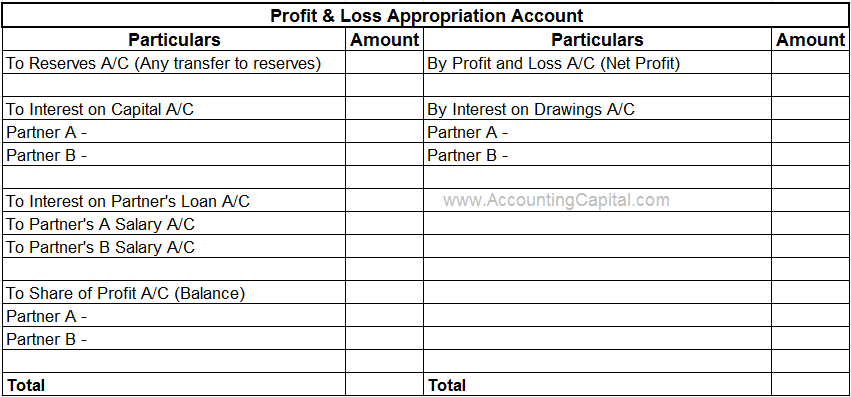Profit and Loss Appropriation Account Format