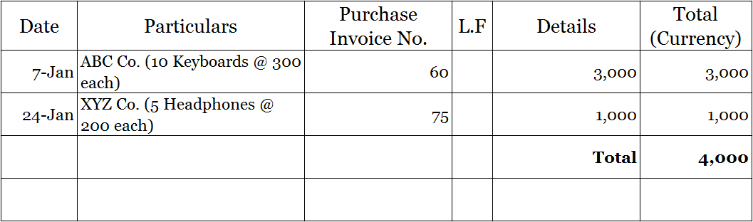 Purchase Book example template