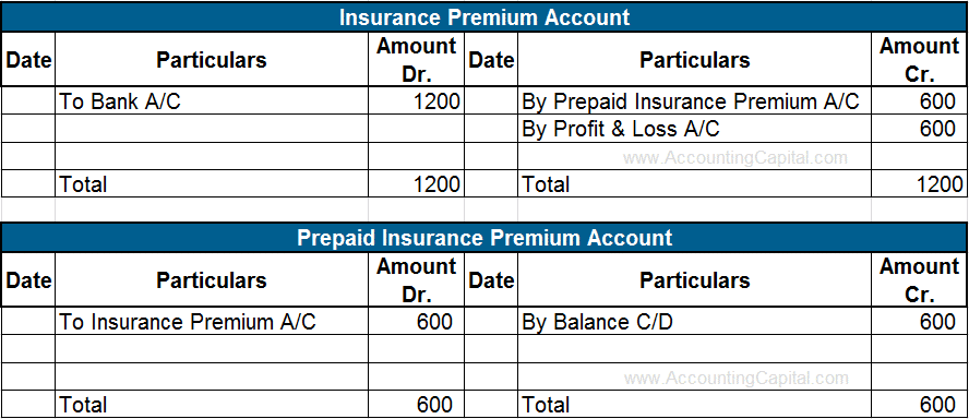 Treatment of Prepaid Expenses in Ledger Accounts