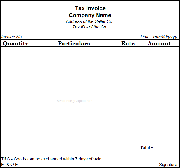 Invoice or Bill Template
