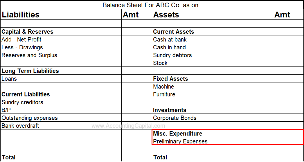 Preliminary Expenses Shown in the Balance Sheet